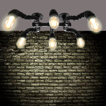 Personality 6 Heads Spider  E27 Ceiling Lamp Retro Industrial Wind Water Pipe Iron Ceiling Light for Hotel Restaurant Bar Cafe