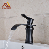 Free Shipping Black Color Waterfall Spout Bathroom Mixer Tap Hot And Cold Water Faucet