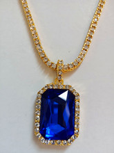 24 30 1 Row Crystal Cubic Zircontennis Chain Onyx Pendant Necklace Set Square Bluestone Pendant Mens