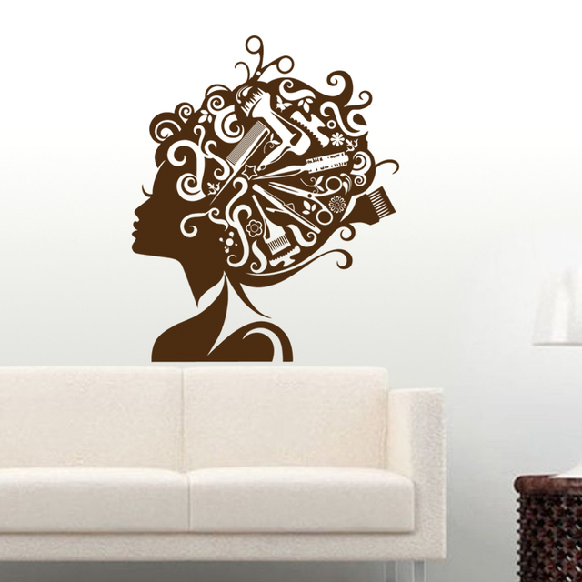 Salon Sticker Decal Hair Barber Shop Beauty Posters Vinyl Wall Art Decals  Hair Cut Parede Decor Part 97