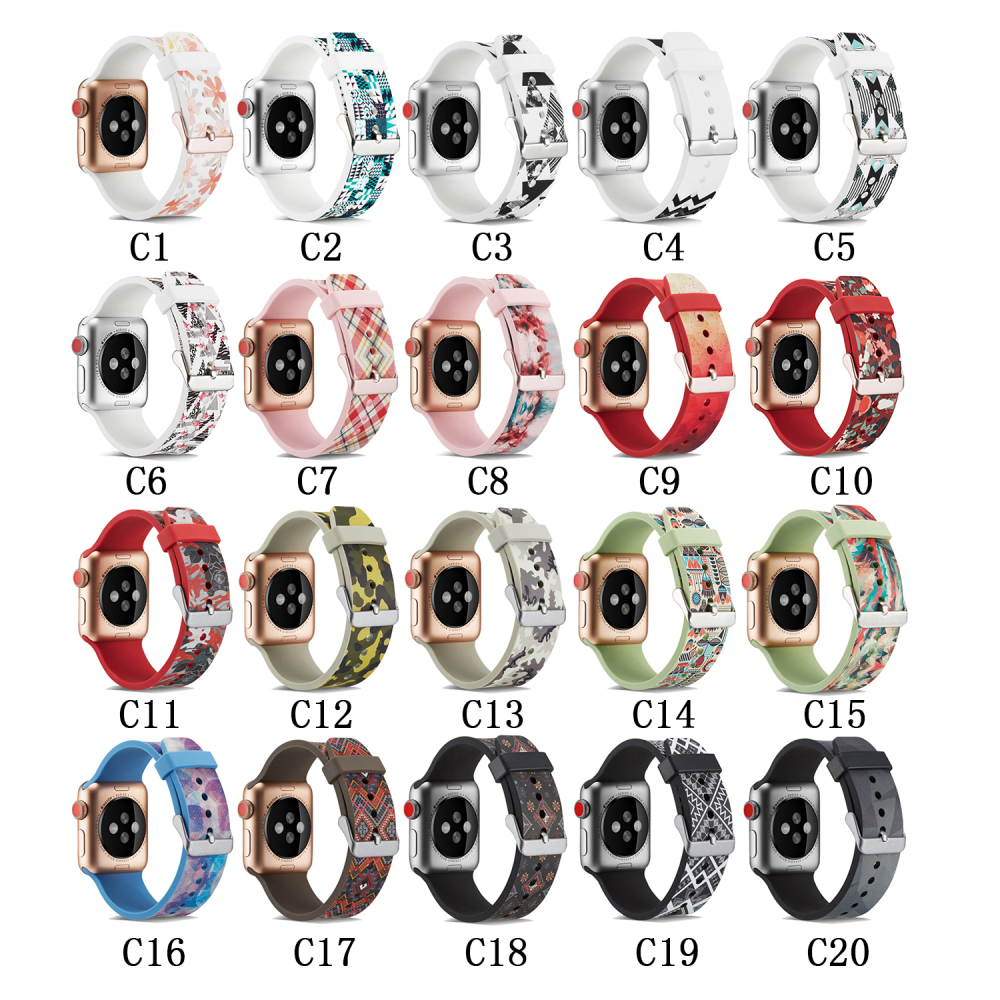 Colorful Flowers Soft Silicone Replacement Sport Band For Apple Watch Series1 2 3 4 44mm 38mm 40mm 42mm Wrist Bracelet Strap soft silicone replacement sport band for apple watch series4 3 2 1 44mm 40mm 42mm 38mm wrist bracelet strap for apple watch band