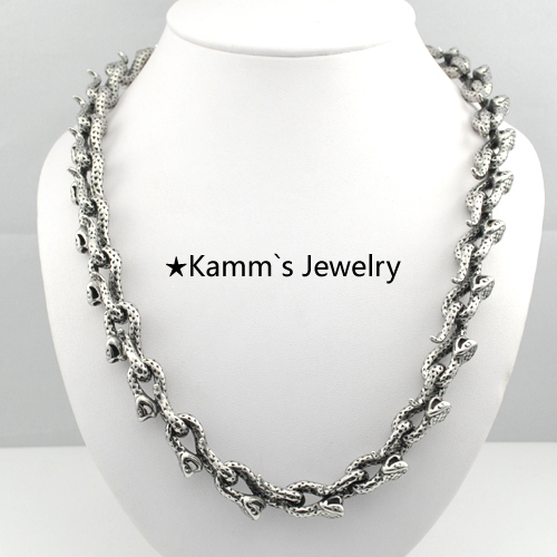 Body Chain Snake Necklace Men 316L Stainless Steel Casting Free Shipping Wholesale Biker Chain Top Quality Heavy Cool KN270