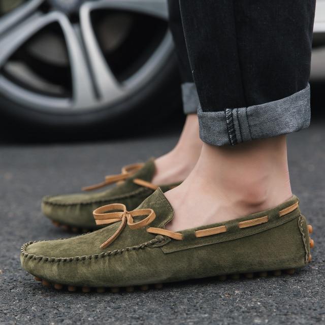 Männer Casual Schuhe Britischen Stil Mokassins Echtem Leder Wohnungen Zapatos Hombre Loafers Schuhe Männer Winter & Sping Chaussures