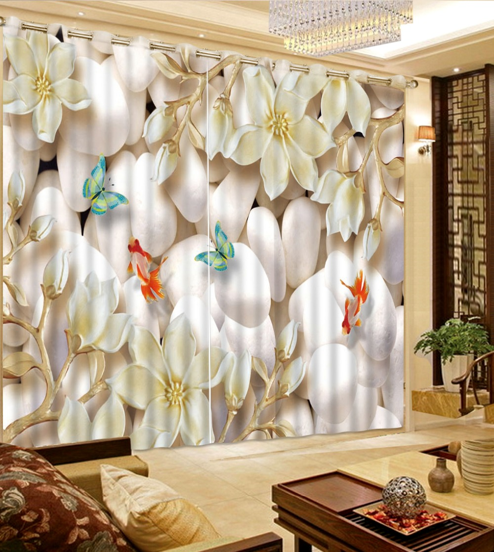 custom 3d curtains for living room Stone butterfly blackout modern ...