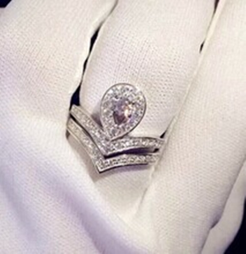 crown designer combination rings real silver sona diamond rings set for women semi mount paved jewelry - Cheap Real Diamond Wedding Rings