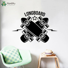 YOYOYU Wall Decal Longboard Skateboarding Sports Vinyl Stickers Boys Modern Design Bedroom Decoration Art Decor Mural CT750