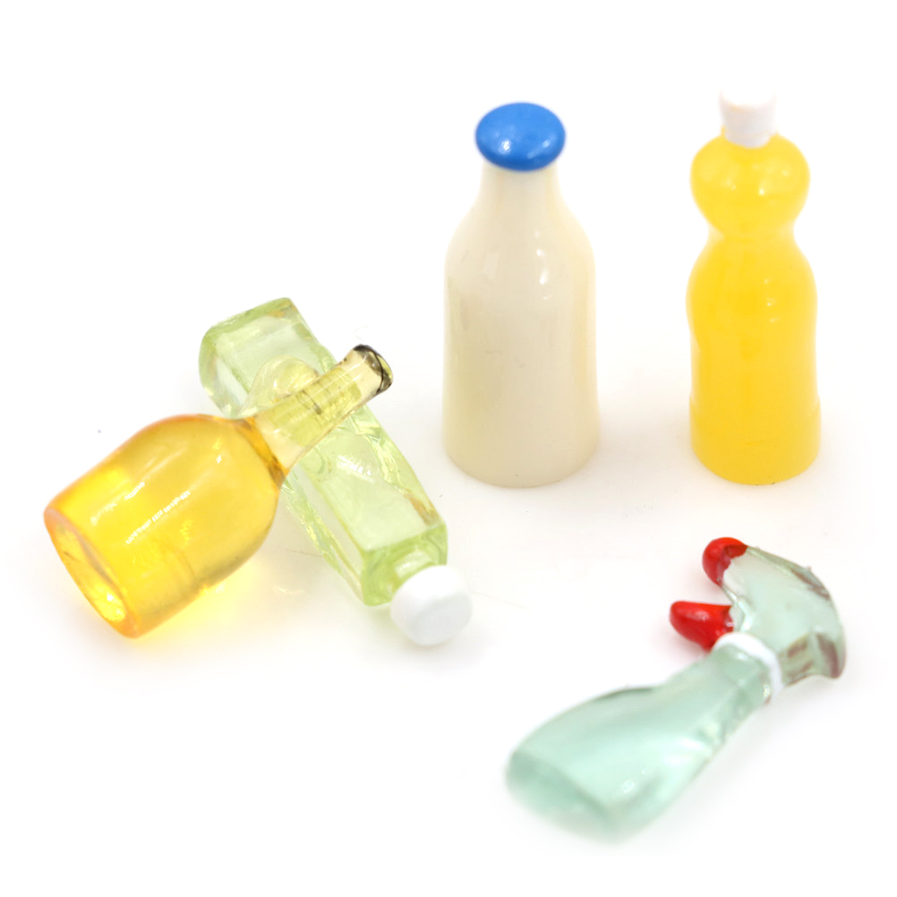 Toys & Hobbies Dolls & Stuffed Toys 1:12 Scale Toy 5 Pieces Plastic Kitchen Bottles Height 3cm Dollhouse Miniature For Girls Dolls Doll Accessories