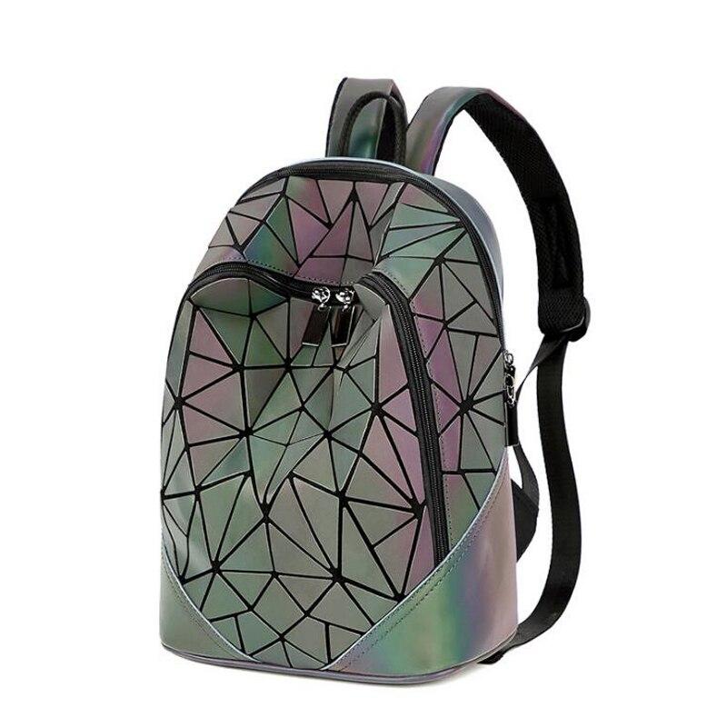 New Fashion Luminous Irregular Triangle Sequin Backpack For Women Fashionable Rucksack Female Backbag Korean Gray And Purple
