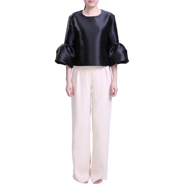 Pettigirl Wedding Party Cocktail Suit 2017 Christmas Womens Scoop Neck Puff Sleeve Black Tops with Cream Long Pants Elegant