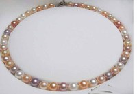 Send gifts natural pearl necklace 9 10mm mixed color very light free shipping 925 silver clasp fine JEWELRY