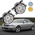 Otomobiller ve Motosikletler'ten Araba Işık Tertibatı'de Araba styling Jaguar XJ Için X358 2007 2008 2009 9 Adet LED Cips LED Sis Işık Lambası H11 h8 12 V 55 W Halojen Sis Farları