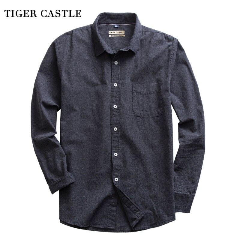 Mens Brushed 100% Cotton High Quality Dress Shirts Vintage Blue Slim Fit Solid Fashion Blouse Male Designer Long Sleeve Shirt