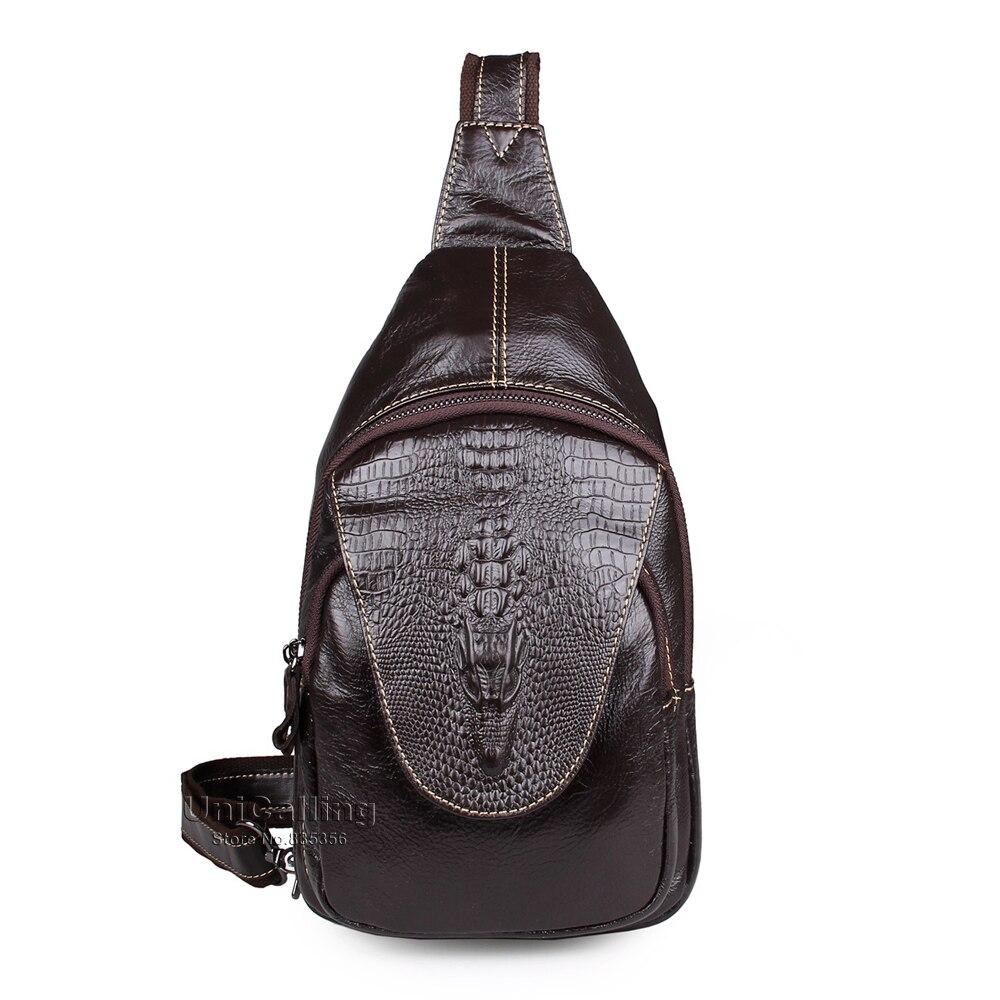 ФОТО Retro fashion men genuine leather chest bag casual trendy men crossbody bag real cow leather men messenger bag crocodile pattern