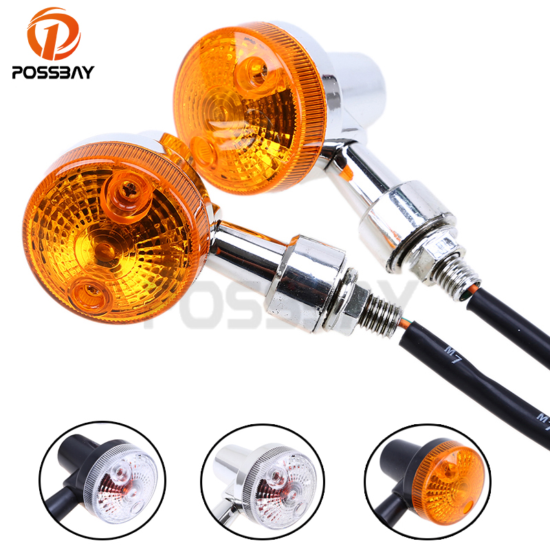 POSSBAY 2Pcs/Lot 12V Universal Motorcycle Accessories Turn Signal Light Indicators Amber Lamp For Harley Cafe Racer Motocicleta