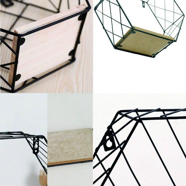 Nordic Iron Hexagonal Grid Wall Floating Shelf Combination Wall Hanging Geometric Figure Wall Decoration For Living Room Bedroom 1