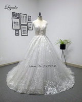Liyuke Backless With Transparent V Neckline Floor Length A Line Luxury 3D Flowers Wedding Dress Beading