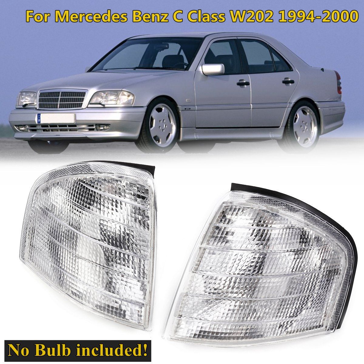 MB2521101, 2028261243 1 Pair Clear Corner Lights Side Signal Lamps For Mercedes for Benz C Class W202 1994 1995 1996 1997~2000 free shipping leather car floor mat for mercedes benz c calss w202 1994 1995 1996 1997 1998 1999 2000 c180 c200 c220 c280 c240