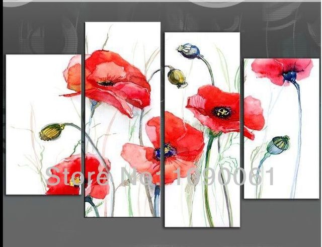 Hand painted red poppies flowers and fruits oil paintings modern 4 hand painted red poppies flowers and fruits oil paintings modern 4 pieces abstract canvas wall art mightylinksfo