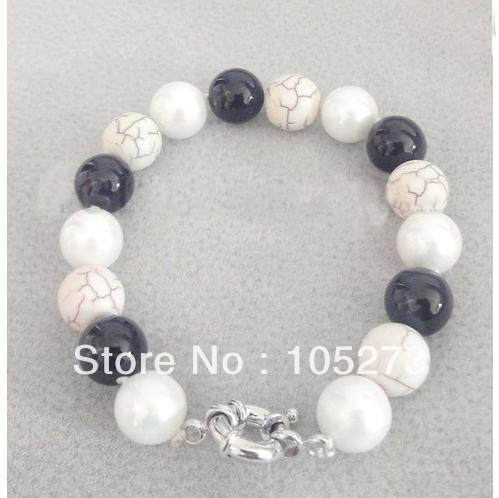 New Arriver Gem Stone Bracelet Black Onyx White Turquoise Mother Of Pearl 10mm Round Shaper Fashion Jewelry Free Shipping