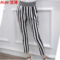 2017 Summer New Woman Fashion Loose Elastic Waist Striped Pants Street Casual High Waist Plus Size Chiffon Harem Pants XXXXXL