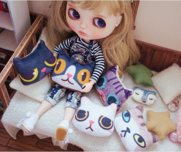 3pcs Animal Pillow Mini Doll Pillow For Barbie Blyth Doll Salon Doll Props 6cm 3D Cat