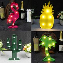 LED Table Night Light Marquee Star Heart Flamingo Pineapple Christmas Coconut Tree Home Party Decoration 3D Desk Lamp(China)