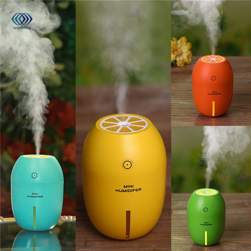 180ML Lemon Mini USB Portable Ultrasonic Humidifier DC 5V LED Light Air Purifier Mist Maker For Home Office Car