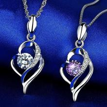 Everoyal Charm Crystal Heart Pendant Necklace For Girls Jewelry Vintage Silver 925 Women Clavicle Accessories Female