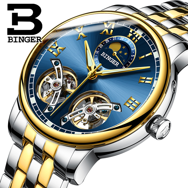 2019 NEW BINGER Unique Design Style Double Tourbillon Skeleton Watch Full Steel Casual Men Mechanical Watches Automatic Watch