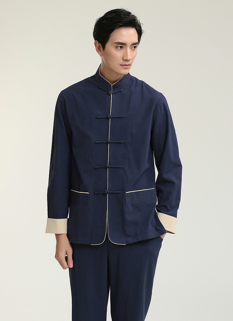 Traditional Chinese men's Tops Gentleman Long Sleeves Cotton Shirt Size M to 3XL