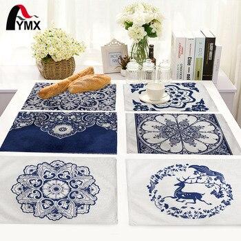 Mantel de porcelana blanco y azul de estilo chino con patrón de flores para decoración del hogar, manteles, manteles, servilletas para bodas