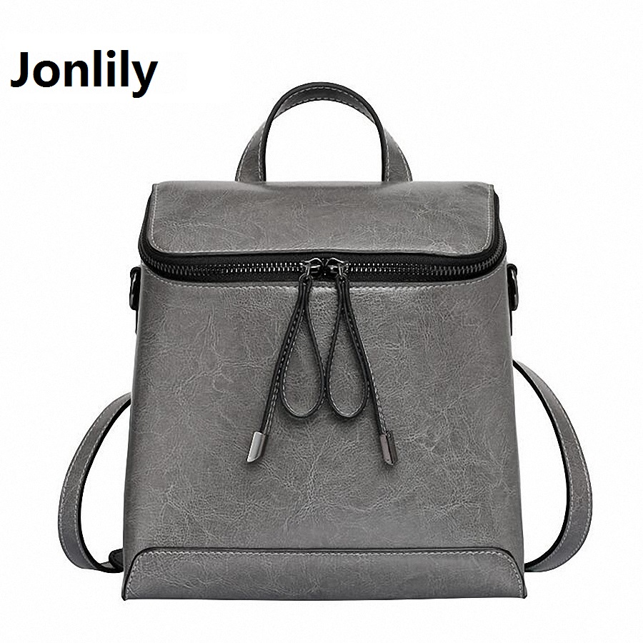 Jonlily Women Genuine Leather Backpack Women's Backpacks for Teenage Girls Ladies Bags with Zippers School bag Mochila SLI-281 brand women backpack genuine leather school backpacks for teenage girls shoulder bag large capacity travel bags