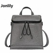 Jonlily Women Genuine Leather Backpack Women s Backpacks for Teenage Girls Ladies Bags with Zippers School