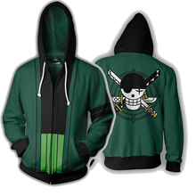 Anime Hoodies ONE PIECE Roronoa Zoro 3d Printed Hooded Hoodies Sweatshirts for Men Spring Antumn Zipper Jackets Cardigan Tops