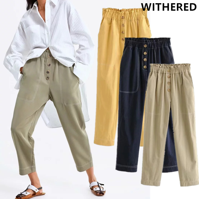 Withered High Waist Harem Pants Women Solid Single Breasted Cargo Pants Pantalones Mujer Pantalon Femme Trousers Women Plus Size