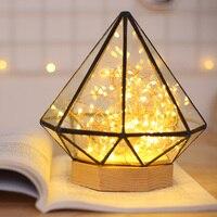 Творческий ночник для романтический декор внутреннего освещения ромбовидной формы абажур теплый светодиодный свет как подарок на день рож