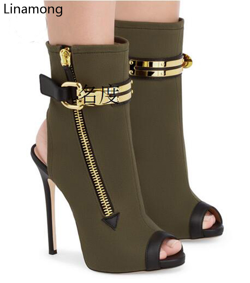 Newest Fashion Summer Stretch Fabric Boots High Heels Cut out Stiletto Sandals Women Open Peep Toe Buckles Zipped Short Boots