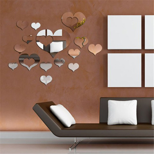 3d diy art heart shaped wall mirror stickers self adhesive acrylic