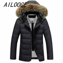 Winter Parka Men Down Jacket Coat 90% White Duck Down Jacket Thicker Warm Outwear Overcoat Faux Fur Hat Camperas Hombre Invierno