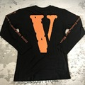 Kanye West Designer T-shirt 2017 Mens New Arrivals Vlone V Text Pattern Hip Hop Crewneck Long Sleeve Tops