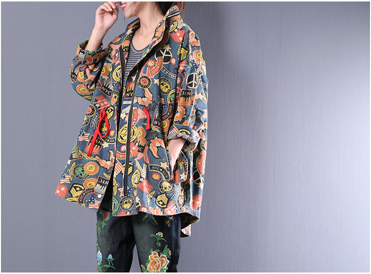 2019 female new autumn plus size outerwear printed waist stand collar loose denim   trench