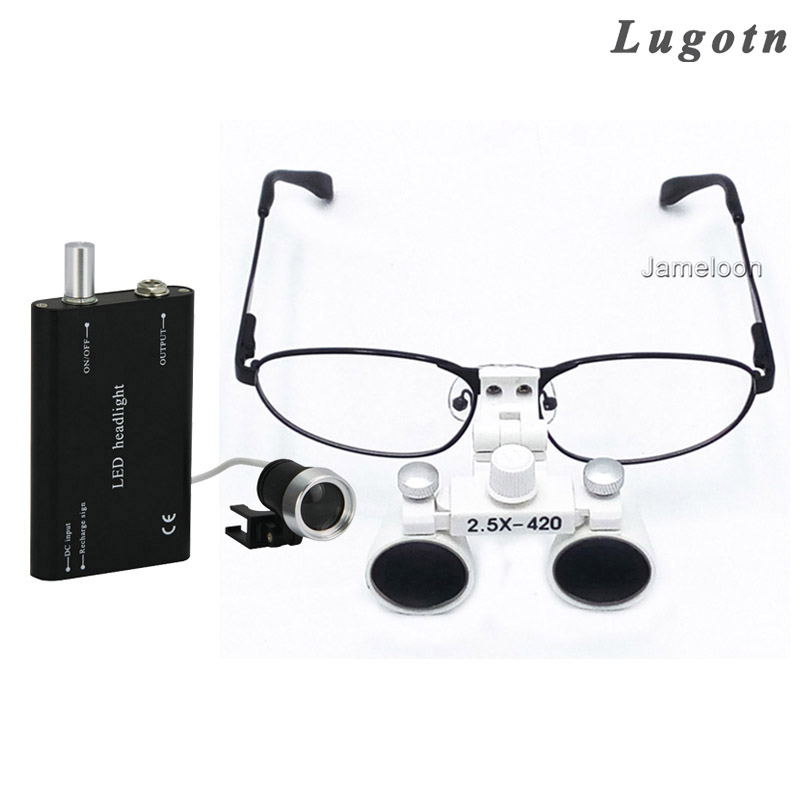 2.5X magnifying surgical magnify medical dental binocular magnifier metal frame removable myopic exchengeable glass oral loupe 5lens led light lamp loop head headband magnifier magnifying glass loupe 1 3 5x y103