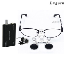 2.5X magnifying surgical magnify medical dental binocular magnifier metal frame removable myopic exchengeable glass oral loupe