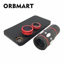 Discount! ORBMART 4 in 1 Fish Eye Wide Angle Macro 10x Zoom Telescope Camera Lens With Back Cover For Samsung Galaxy Note 3 N9000 N9005