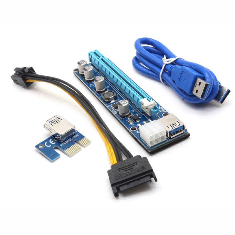 JONSNOW 008C PCIE RISER 6PIN 16X for BTC mining with LED Express Card with Sata Power Cable and 60cm USB Quality Cable