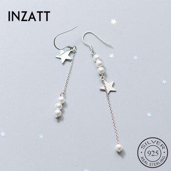 INZATT-pendientes de gota de estrella cuelga de perla y borla de cadena de plata de ley 925 auténtica asimétrica para mujer, joyería de boda elegante