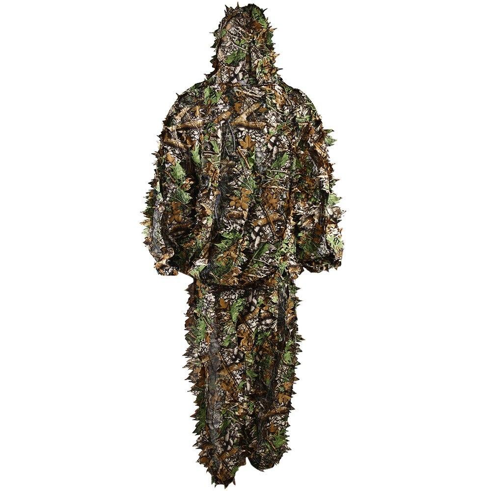 Polyester odolný venkovní lesní odstřelovač Ghillie oblek Kit vojenský 3D list kamufláž Camo džungle lov Birding