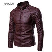 Мужская куртка из искусственной кожи, Новое мужское пальто с меховым воротником на молнии с металлическими пуговицами, декоративное кожано...
