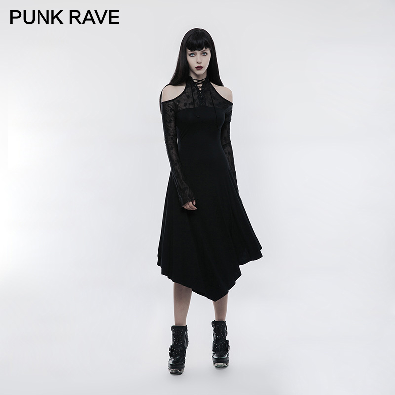 PUNK RAVE Gothic Dark Lace Spliced Girls Off  Shoulder Long Sleeves Dress Black Party Clothing Stretch Knit Irregular Punk Party