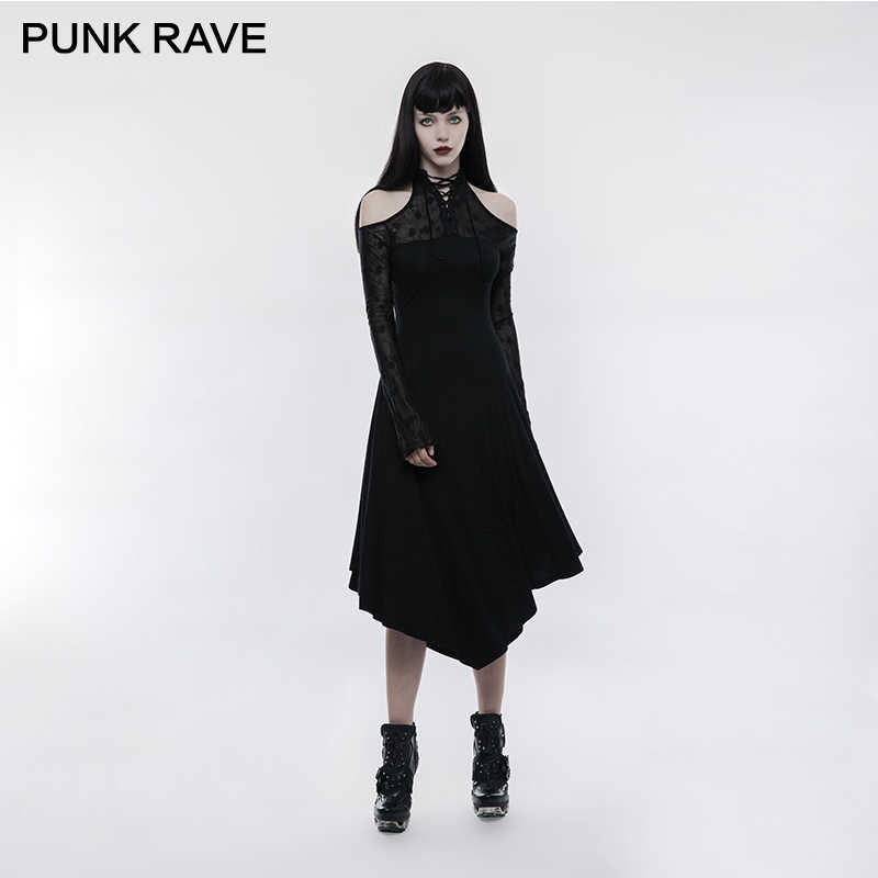 c89523eb60a PUNK RAVE Gothic Dark Lace Spliced Girls Off Shoulder Long Sleeves Dress  Black Party Clothing Stretch